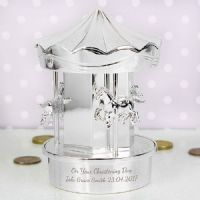 Personalised Carousel Money Box - P010278 - A perfect gift for Christenings and Birthdays.